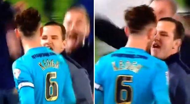 Derby County skipper Richard Keogh is confronted by a fan after the game