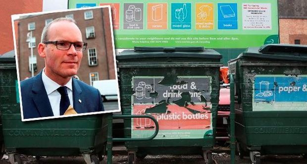 Household bin charges (Inset: Minister Simon Coveney)