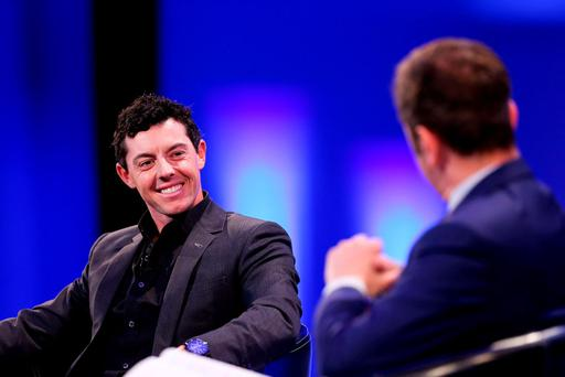 James Nesbitt interviews Rory McIlroy on stage at 'An Evening with Rory' at Dublin's Convention Centre last night