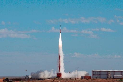 The launch of an experimental rocket on trial which reached an altitude of 278 kilometres and a target speed of Mach 7.5 in the latest successful test of hypersonic technology in the Australian desert. Photo: AFP/ Australian Defence