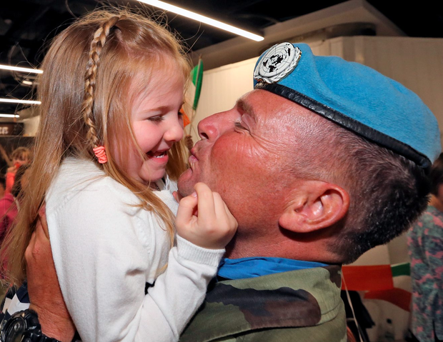 Sgt Tommy Kane with his daughter Laoise Photo: Colin Keegan, Collins Dublin.