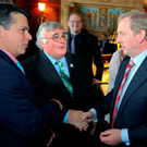 Democratic Congressman Brendan Boyle of Pennsylvania and his father Francis, who is originally from Donegal, meet Taoiseach Enda Kenny at the Kennedy Centre in Washington. Mr Kenny will return to Ireland from the US today Photo: Mary Katz