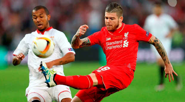 Liverpool's Alberto Moreno (right) and Sevilla's Filho Mariano battle for the ball during the UEFA Europa League Final at St. Jakob-Park, Basel, Switzerland. PRESS ASSOCIATION