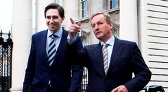 Taoiseach Enda Kenny with Health Minister Simon Harris outside Government Buildings Photo: Tom Burke