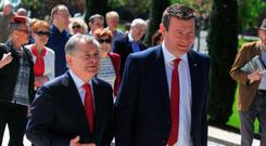 Labour TD's Brendan Howlin & Alan Kelly during the Labour Party's Annual James Connolly Commemoration at Arbour Hill Dublin. Photo: Gareth Chaney Collins