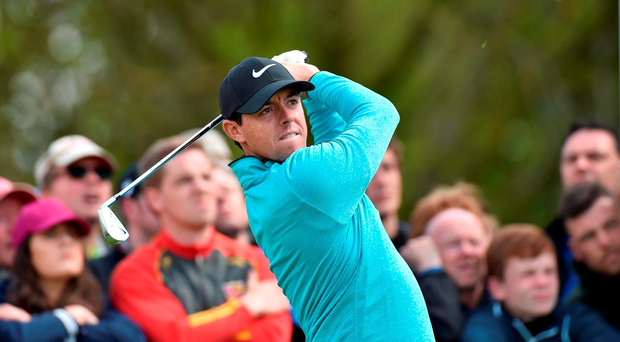 19 May 2016; Rory McIlroy of Ireland watches his tee shot from the 3rd tee box during day one of the Dubai Duty Free Irish Open Golf Championship at The K Club in Straffan, Co. Kildare. Photo by Matt Browne/Sportsfile