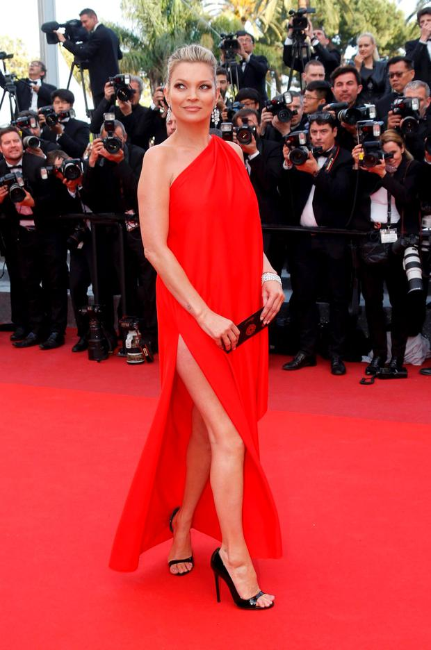Model Kate Moss arrives for the screening of film 'Loving' in Cannes.