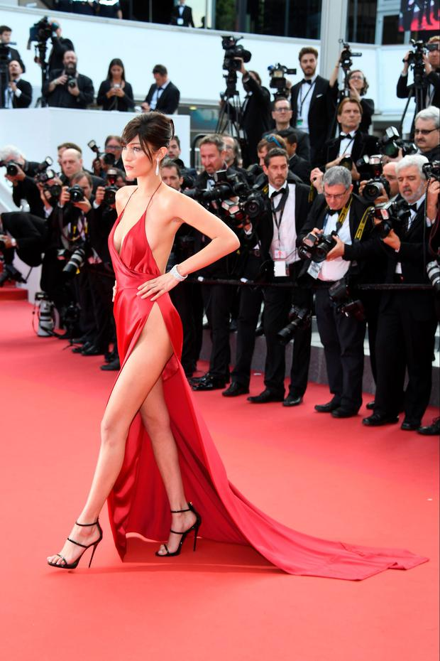 Model Bella Hadid attends 'The Unknown Girl (La Fille Inconnue)' Premiere in Cannes.
