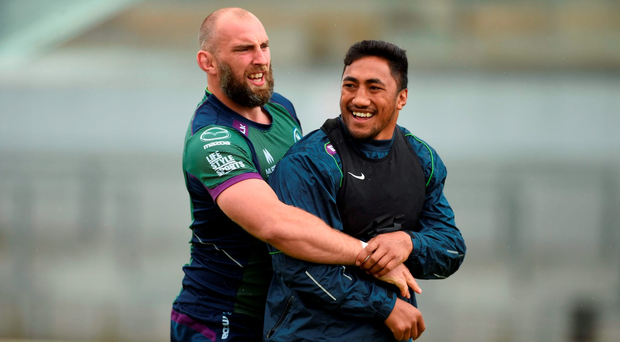 Connacht's John Muldoon and Bundee Aki during training at the Sportsground. Photo: Diarmuid Greene/Sportsfile