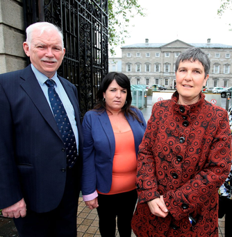 Eamonn McCann, Mary Brigid McCann and Ronnie Fay were part of the Pavee Point delegation who visited Leinster House yesterday. Photo: Tom Burke