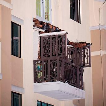 The collapsed balcony that caused the tragedy in Berkeley. Photo: AP
