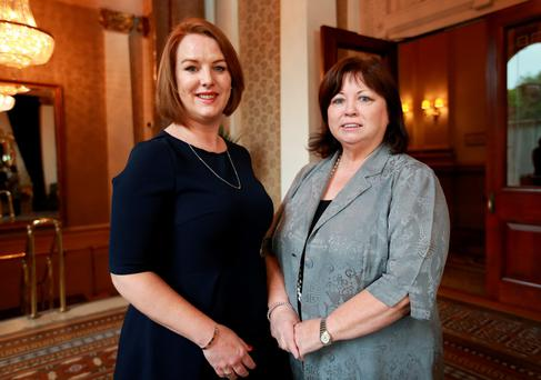 Avril McHugh, marketing director of CPL Resources, with former Tanaiste Mary Harney at the WXN breakfast talk on the subject of 'Reinventing and Reimagining' in the Westin Hotel, Dublin. Photo: Frank McGrath