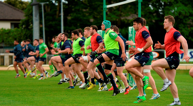 Connacht players go through their paces during training ahead of the game against Glasgow. Photo: Diarmuid Greene/Sportsfile