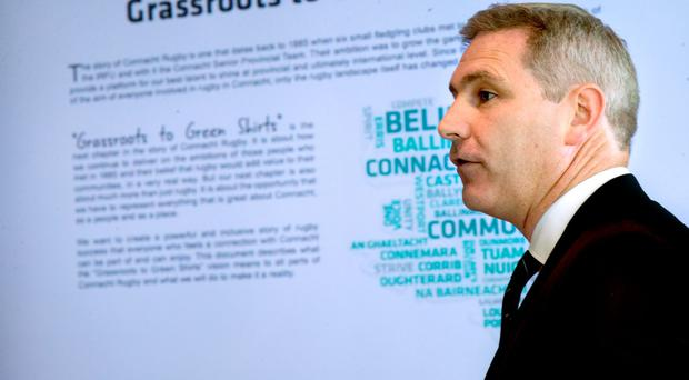Willie Ruane at the launch of Connacht's strategic plan. Photo: James Crombie/INPHO