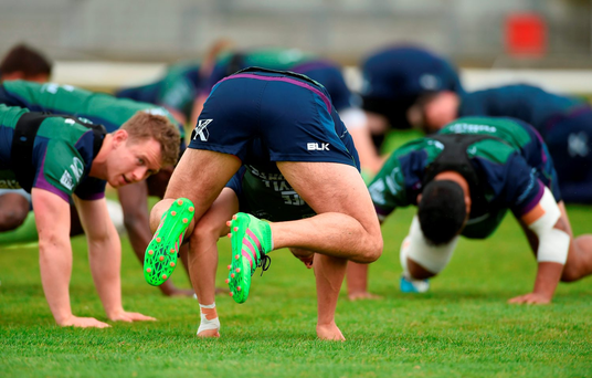 Tiernan O'Halloran shows his dexterity during Connacht training. Photo: Diarmuid Greene/Sportsfile