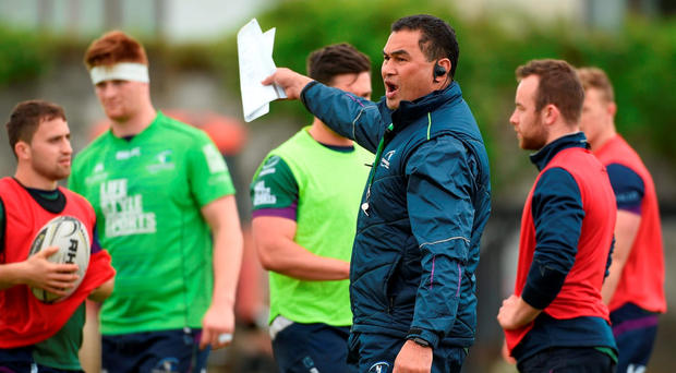 Pat Lam speaks to his players during training ahead of their game against Glasgow. Photo: Diarmuid Greene/Sportsfile