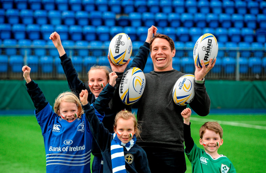 Pictured is Leinster's Isaac Boss with, from left, Marta Rakowska, aged 10, Martyna Kasperkiewicz, aged 12, Victoria Kasperkiewicz, aged 8, and Freddie Guilbaud, aged 6, all from Ballsbridge (SPORTSFILE)