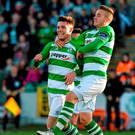 Mikey Drennan (right) celebrates with Shamrock Rovers team-mate Brandon Miele during a Shamrock Rovers game last year. Photo: David Maher/Sportsfile
