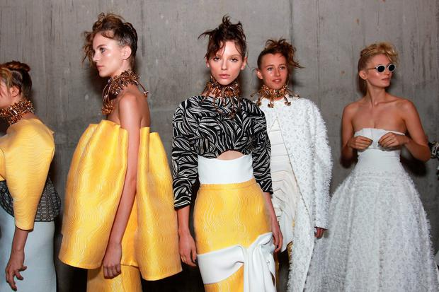 Models pose backstage ahead of the Mercedes-Benz Presents Maticevski show at Mercedes-Benz Fashion Week Resort 17 Collections at The Cutaway, Barangaroo Reserve on May 15, 2016 in Sydney, Australia. (Photo by Lisa Maree Williams/Getty Images)