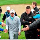 Rory McIlroy makes his way to the third tee box during day two of the Dubai Duty Free Irish Open Golf Championship at The K Club