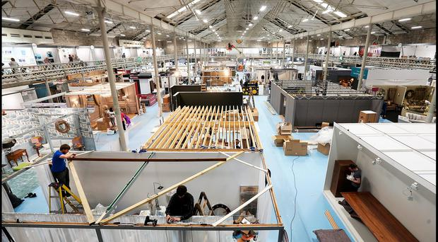 Putting the finishing touches to HOUSE - Ireland's New Interior Design Event which takes place at the RDS from Friday till Sunday .Pic Steve Humphreys