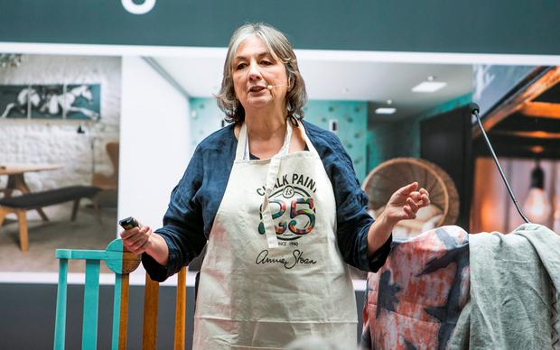 Annie Sloan (expert in Chalk Paint) speaking at HOUSE 2016 Exibition RDS Main Hall. pic:Kyran O'Brien