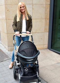 Karen Koster at Today FM's Anton Savage Show with son John James in pram Pictures: Cathal Burke / VIPIRELAND.COM