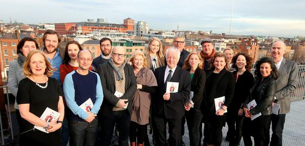 Directors Lenny Abrahamson (third from left, front row) and Jim Sheridan (front centre) with James Hickey, chief executive of the Irish Film Board, and fellow actors and producers at the launch of the IFB's 2016 schedule of productions. Abrahamson has taken to the national airwaves this week to argue for the importance of the arts for Ireland. Photo: Damien Eagers