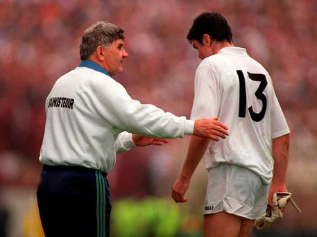 Kildare manager Mick O'Dwyer talks to Martin Lynch during the 1998 All-Ireland final defeat to Galway - it's hard to believe how little was built on the back of that final appearance. Photo: Ray McManus/Sportsfile