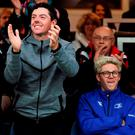 Golfer Rory McIlroy and One Direction's Niall Horan cheering on the teams in last night's Leinster-Ulster Pro12 semi-final. SPORTSFILE