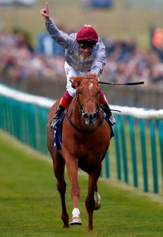 Frankie Dettori riding Galileo Gold to victory in the 2000 Guineas (Photo by Alan Crowhurst/Getty Images)