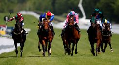 Arlecchino's Leap (left), with David Probert up, on the way to winning The Chateau La Gordonne Stakes at Goodwood yesterday (Photo by Alan Crowhurst/Getty Images)