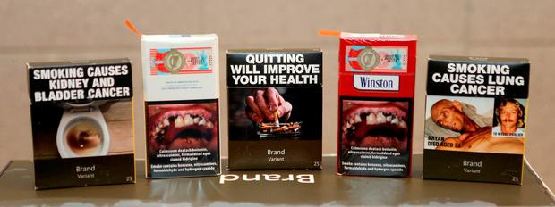 Warnings will cover 65pc of the surface of cigarette packets. Photo: PA