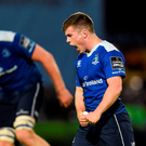 Luke McGrath celebrates at the final whistle of the Guinness PRO12 Play-off match between Leinster and Ulster at the RDS Arena in Dublin (Photo by Ramsey Cardy/Sportsfile)