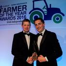 Tom Dunne from Co Laois receives the Farmer of the Year award from Zurich's head of agri-business Michael Doyle at the Farmer of the Year Awards in the Ballsbridge Hotel sponsored by Zurich and the Irish Independent. Photo: Douglas O'Connor