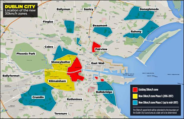 Dublin City - Location of the new 30km/h zones