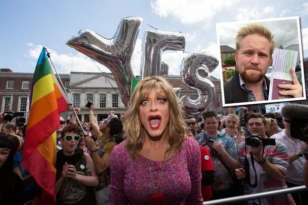 Rory O'Neill as Panti Bliss as the result of the same-sex marriage referendum unfolded at Dublin Castle. Inset: Jason Kennedy