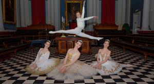 Ballet dancers Anthony White (leaping), (L-R) Alana Borza, Victoria Young, Megan Mullen image by Keith Dixon