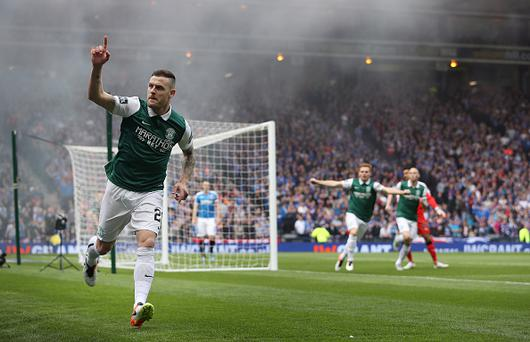 GLASGOW, SCOTLAND - MAY 21: Anthony Stokes of Hibernian celebrates scoring during the Scottish Cup Final between Rangers and Hibernian at Hampden Park on May 21, 2016 in Glasgow, Scotland. (Photo by Ian MacNicol/Getty)