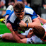 Leinster's Jamie Heaslip scores his side's second try of the match despite the tackle from Ulster's Paddy Jackson. Photo: Seb Daly/Sportsfile