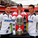 (l-r) Captain Joel Edwards, Manager Peter Beadle and Pablo Haysham of Hereford FC pose with the FA Vase at Wembley Stadium. Photo: The FA/Getty