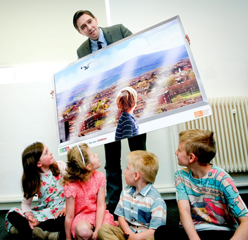 Minister for Health Simon Harris at a viewing of plans for the new children's hospital in Dublin on Friday Photo: MAXWELLPHOTOGRAPHY.IE