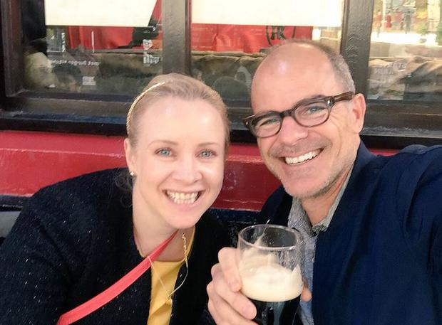 Actor Michael Kelly pictured with Siobhan Gallagher in Dublin today Photo Credit: @TweetsbyShiv