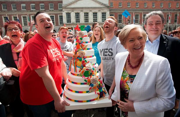 Campaigners gather to celebrate a year since the historic yes vote in the Marriage Equality Referendum Photo: Gareth Chaney Collins