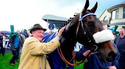 Trainer Kevin Prendergast with Awtaad after his winning ride in The Tattersalls Irish 2000 Guineas at the Curragh. Photo : PA
