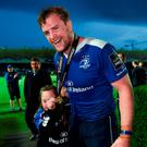 Leinster's Jamie Heaslip greeted by supporter Jennifer Malone, from Edenderry, Co. Offaly after the Blues' PRO12 play-off match. Photo: Stephen McCarthy/Sportsfile
