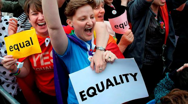 Same-sex marriage supporters celebrate the referendum result Photo: Ian Kington