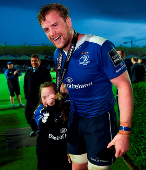Jamie Heaslip is greeted by supporter Tara McDermott, from Edenderry, Co Offaly, following his man of the match performance for Leinster in the play-off against Ulster Photo: Stephen McCarthy/Sportsfile