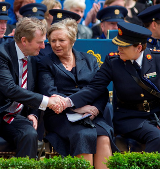 Taoiseach Enda Kenny and Justice Minister Frances Fitzgerald greet Garda Commissioner Nóirín O'Sullivan at the memorial day for gardaí killed on duty Photo: Mark Condren