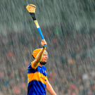 Seamus Callanan makes light of the conditions during Tipperary's victory over Cork at Semple Stadium. Photo: Stephen McCarthy/Sportsfile